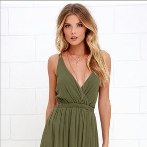 Lulus Lost in Paradise Olive Green Maxi Dress